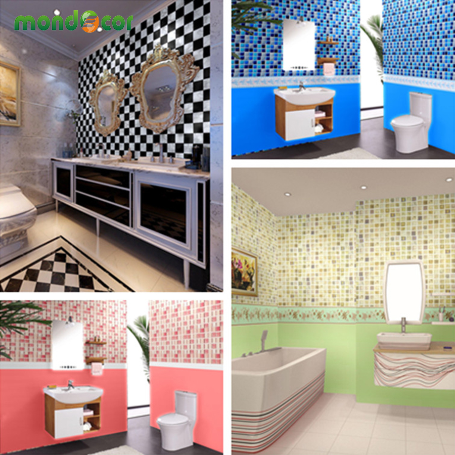 New waterproof bathroom mosaic tiles vinyl pvc self for Self adhesive bathroom wallpaper