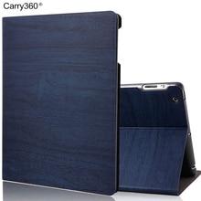Caso para el ipad de Aire 2, Carry360 Tela PU Cubierta Elegante de Cuero de Grano de Madera De Alta Calidad para el ipad 2/3/4 para el ipad de Apple Aire 1