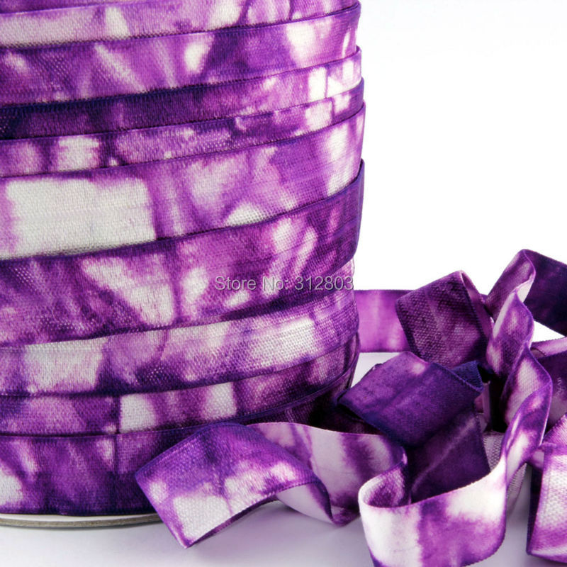 ON SALE..PURPLE TIE DYE FRESH COLOR 5/8 Fold Over Elastic, Printed FOE, Fold Over Elastic - DIY headband, 5 Yard Spool