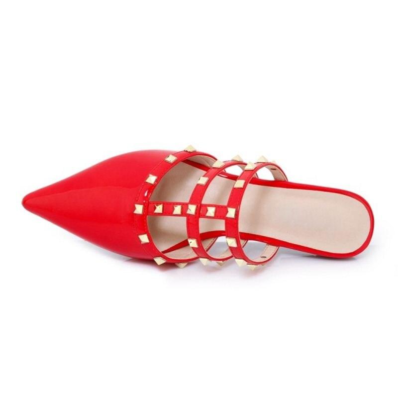 42 Club kaki Cuir Noir Vintage Taille 33 Bout Dames Razamaza Femmes Chaussures Mode Rivets Pantoufles Pointu Véritable rouge Femme En Sandales Rnq4TqU6