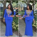 2017 Arabia Saudita Caftán Dubai Sirena vestidos de Partido de Las Mujeres Vestidos de Azul Real Vestidos de Noche Con Mangas Vestido Longo Nigeriano Africana