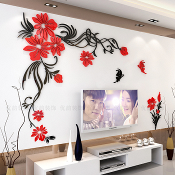 Creative flower 3D stereo acrylic wall sticker background warm decoration Large Size Mural Home Decor Living Room Wall Decals 8