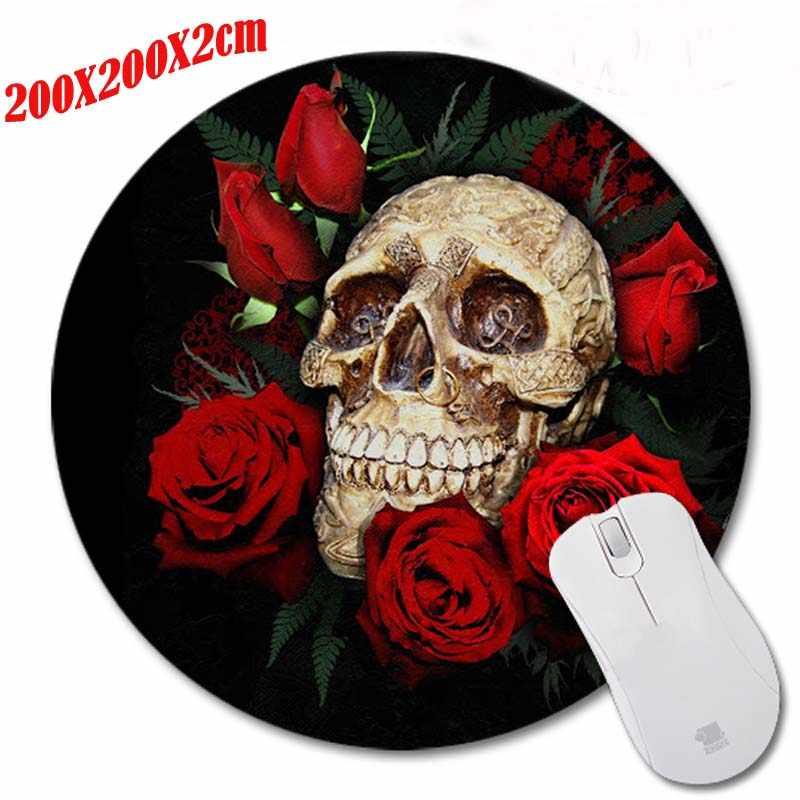 Mairuige頭蓋骨と赤いバラマウスパッドpcコンピュータのラップトップゲーミングマウスプレイマットマウスパッド用ミドル大ゲームラウンドmousemat