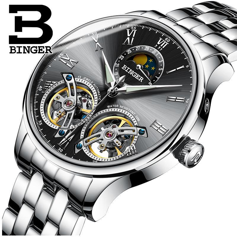 BINGER 2019 Automatic clock men Mechanical watch men Tourbillon waterproof top brand luxury dropshipping date relogio masculino