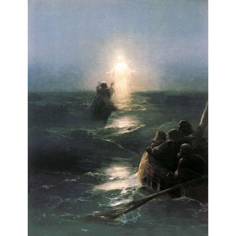 Ручная роспись маслом настенная живопись идеальная масляная живопись с изображением Морского Пейзажа Христос ходьба на воде холст картина