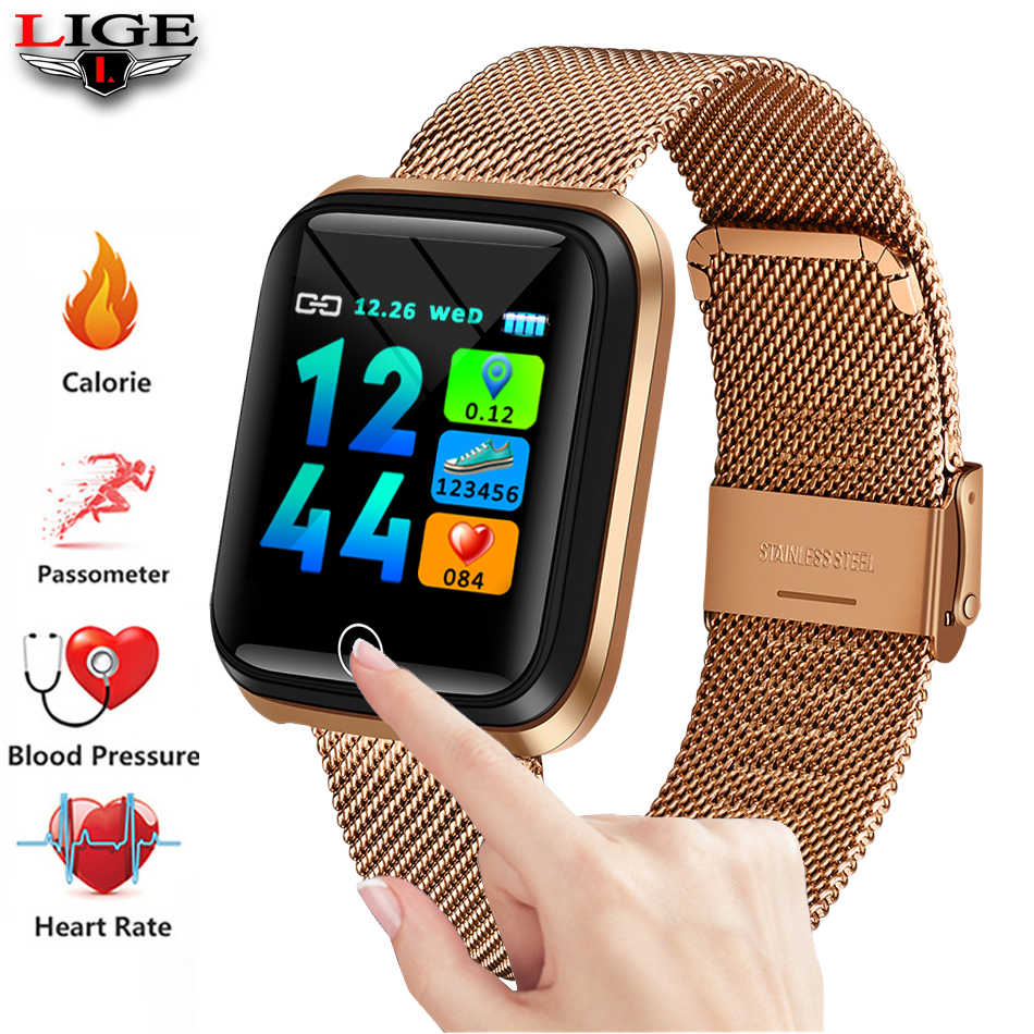 LIGE Smart Sport Bracelet Men high-end Stainless Steel gold-plated Case Pedometer Heart rate Monitor Waterproof Smartwatch + Box