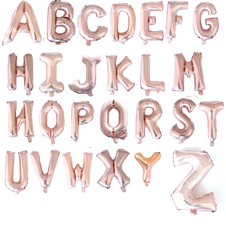 16 inch Rose gold A--Z Optional Letter Balloon Aluminum Foil Helium Balloons Birthday Wedding Party Decoration
