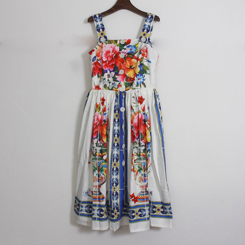New 2018 summer vintage fashion women porcelain rose floral print dress spaghetti strap a-line sleeveless dresses white