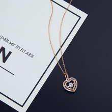 цена на Rose Gold Color Stellux Crystals Heart Pendant Necklace for Valentine's Day Love Heart Pendant Chain Necklaces for Best Friends