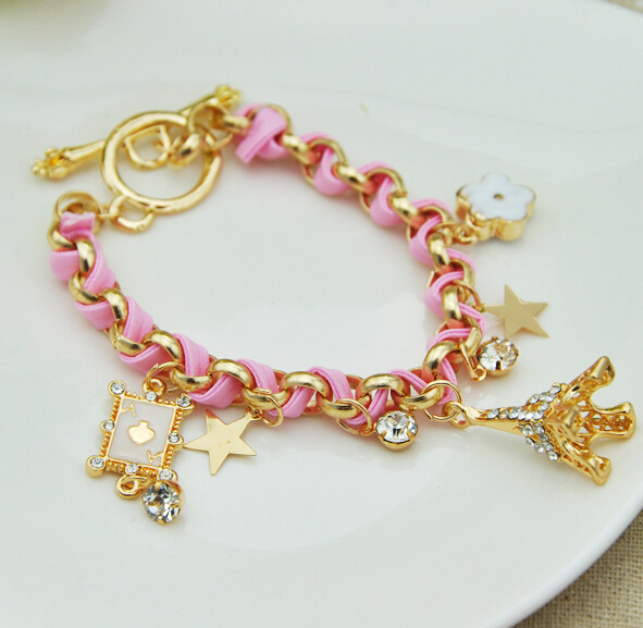 Idealway New Women Girls Bracelets Alloy Crystal Poker Stars Eiffel Tower Flower Charms Hand Jewelry Accessories Pulseras Hombre ...