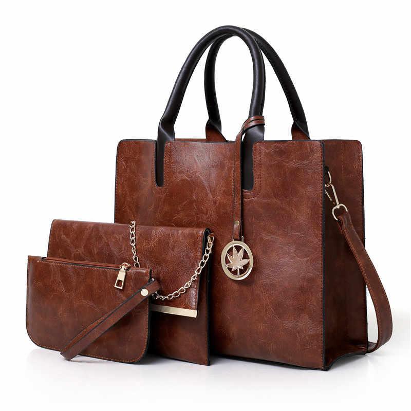 2018 новые женские сумки набор 3 шт. кожаная сумка женская большая сумка-тоут женская сумка через плечо сумка-мессенджер сумка кошелек мешок основной
