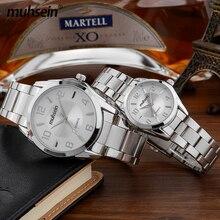 Muhsein simples relojes de pulsera hombres y mujeres moda casual acero inoxidable del reloj del amante de los pares 30 m relojes impermeables del envío libre