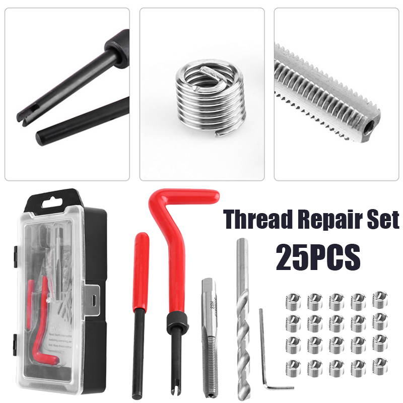 цена на Car Repair Tools 25Pcs Thread Restore Tool Set Helicoil Repair Recoil Insert Kit M6 X 1.0 X 8.0mm Auto Repair High Speed Steel