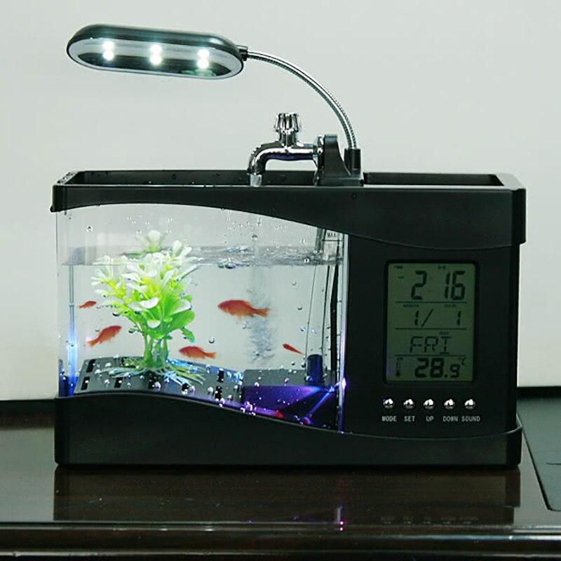 Populaire USB bureau Mini Aquarium aquarium verre LCD minuterie horloge lampe à LED lumière noir/blanc LED Aquarium aquarium - 3