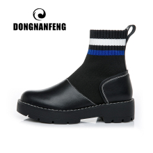 DONGNANFENG Women Mesh Mother Ladies Female Boots Shoes Genuine Leather TPR Slip On Autumn Elasticity Size 35-40 LJ-8511
