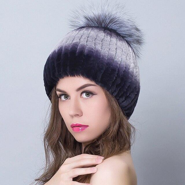 Real Fur Knitting Beanies For Women Cap Hats With Fox Balls Of Top Women's Hats Female Russian Hat Femme Winter Gorros Beanie
