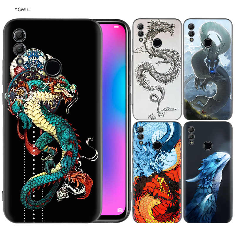 Silicone Cover Case for Huawei Honor 10 9 Lite 8X 8C 8A Y6 Y7 Y9 7A Pro Prime 7C 2018 2019 V20 Chinese Dragon