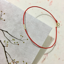 18K Gold Bracelet Mini Tube Gold Tail Buckle Hand-woven Red Rope Bracelet Anklet Wrist Circumference 13-23cm Custom Ladies Gift купить дешево онлайн