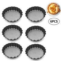 Uarter 6 шт. 3,9 ''диаметр антипригарное Quiche Pan съемный круглый пирог плесень торт плесень кастрюли со свободным дном