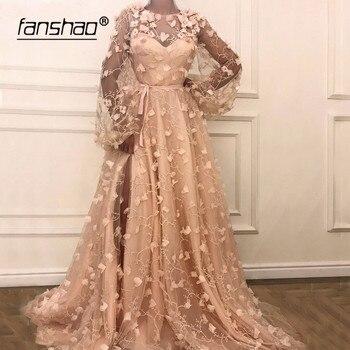Nude Pink Muslim Evening Dresses Long Sleeves Lantern Lace Flowers Slit Illusion Dubai Saudi Arabic Evening Gown Prom Dress