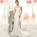 Vestido De Noiva Sereia 2016 Romantic Lace Mermaid Wedding Dress O Neck illusion Back Bridal Gowns Robe De Mariage Casamento