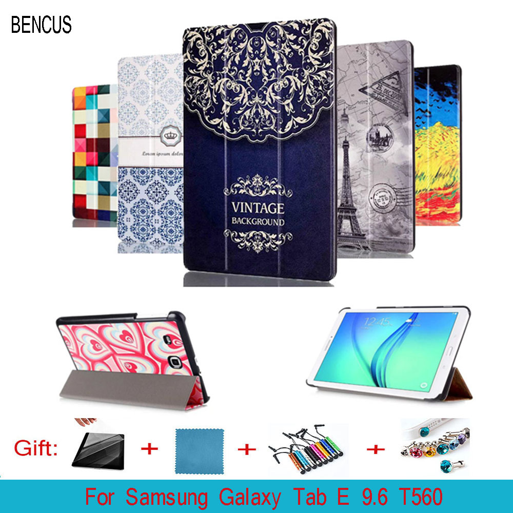 BENCUS Case Cover For Samsung Galaxy Tab E 9.6 T560 SM-T560 T561/T565/T567V PU Leather Stand Case For Galaxy Tablet 9.6 inch