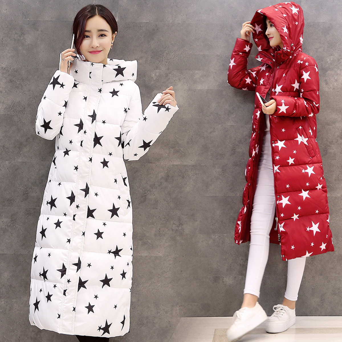 New Women Winter Jacket Cotton Padded Thick Stars Print Female Hooded Coat Parkas Warm Winter Long Womens Jackets and Coats korean winter jacket women large size long coat female snow wear cotton parkas hooded thick warm coats and jackets 7 colors