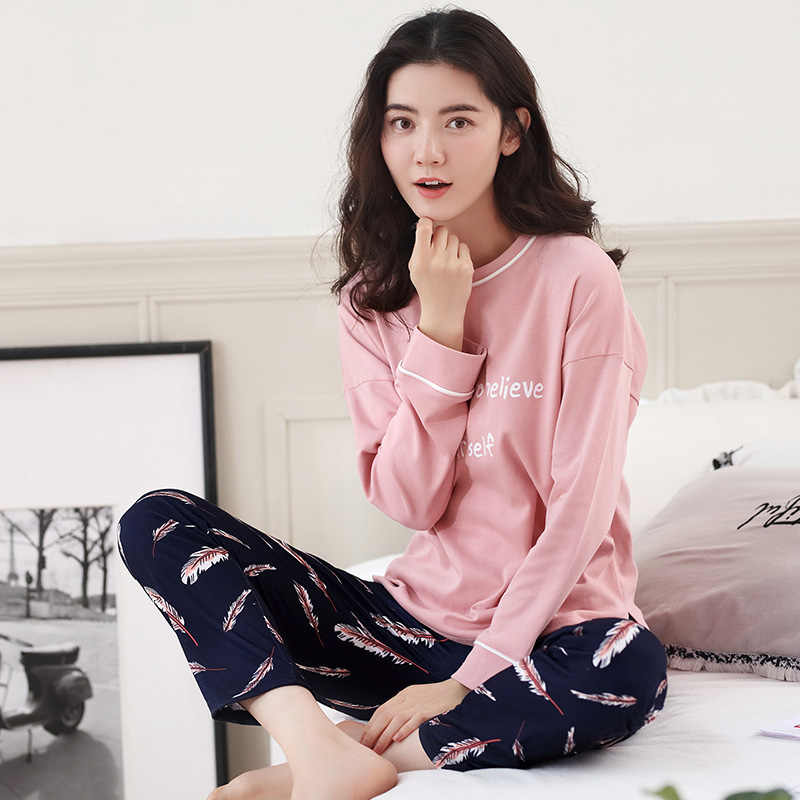 255cc102ea Large Size M-XXL Women Pajamas Sets Soft Nightwear Spring Autumn Long  Sleeve Pyjamas Print