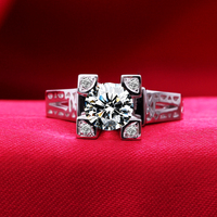 1 Carat SONA Synthetic Diamond Fashion Ring 925 Sterling Silver Eiffel Tower Simulation Female Ring PT950