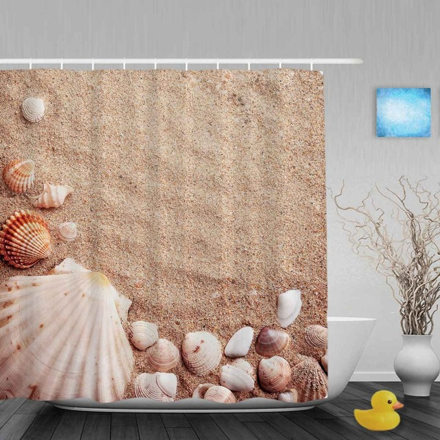 Beautiful Seaside Scenery Bathroom Shower Curtain Shell On Sand Decor Curtains Waterproof Polyester Fabric With