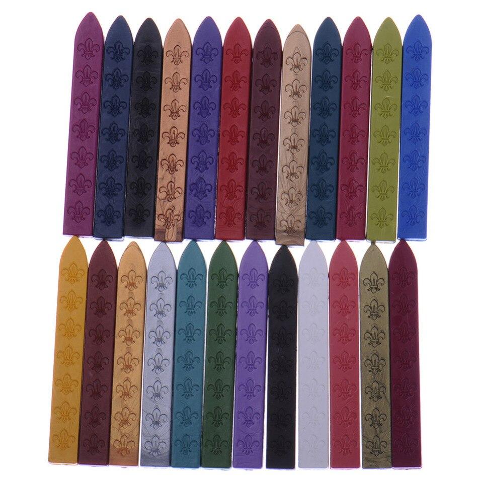 5 borsa 24 colori Vintage Retro Ceralacca Sigillo Dedicato Cera D'api bastone Strisce di Cera Vernice Timbro di Cera Asta Grip Supporto per Timbri