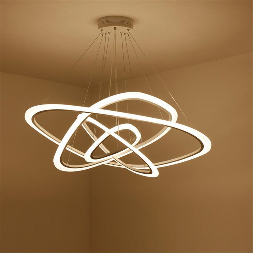 4 Rings White Chandeliers LED Circle Modern Chandelier Hanging Lamp Lustres Acrylic Home Illumination Lighting For Dinning Room
