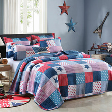цена Quality Blue Print Quilt Set 3PC Quilted bedding Cotton Quilts Bedspread Bed Covers Pillowcase Queen Size 200*230cm Coverlet онлайн в 2017 году
