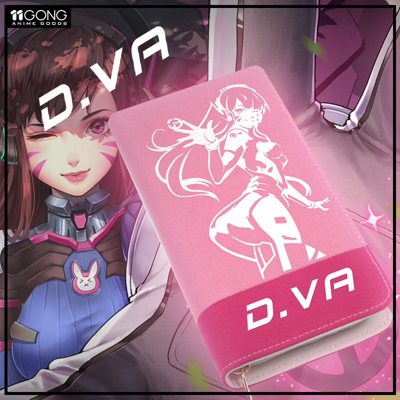 Anime Wallets Overwatch D.VA Student Wallets Girl Casual Long Wallets Cartoon Fashion Coin Purse Preppy Style Burse Bags Money fashion coin purse wallets mini bag league creative personality canvas bags cartoon storage bags for cardholder in ear headphone