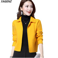 Women Sweater Coat 2017Autumn Long sleeved Knitted Cardigan Solid Color Short Sweater Female Loose Large Size Casual Tops YAGENZ