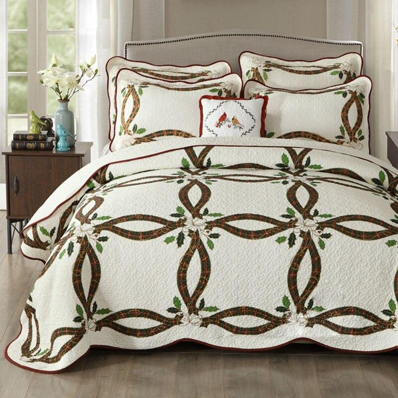 CHAUSUB Neue Weihnachten Bänder Quilt Set 3 STÜCKE Gewaschener Baumwolle Quilts gesteppte Bettdecke Bettdecke Kissenbezug König Größe Bettdecke Satz