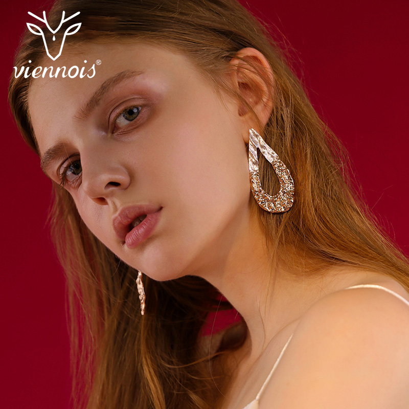 Viennois Gold Color Geometric Stud Earrings for Women Water Drop Shape Female Earrings Women Fashion Jewelry wireless laser barcode scanner 32 bit with memory easy charging cordless bar code reader for pos and inventory rd h2