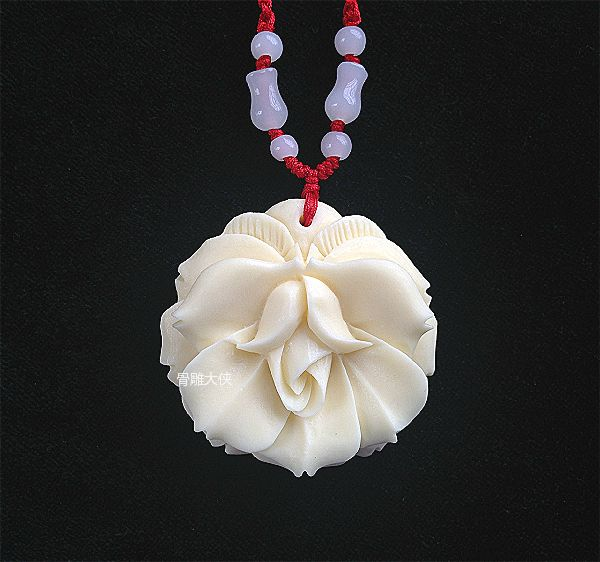 Ivory White Yak Bone Carving Roses Sweater Chain Pendant Necklace Ornaments Pendant Long Paragraph Lady Bone Carving Carved Pendantcarved Bone Pendant Aliexpress