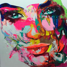 Palette knife painting portrait Palette knife Face Oil painting Impasto figure on canvas Hand painted Francoise Nielly 15-29