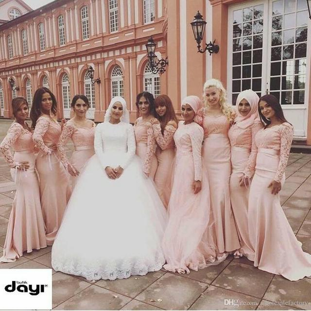 3b8b8ad7905d Vintage Long Sleeve Mermaid Bridesmaid Dresses Arabic Dubai Scoop Appliques  Pink Formal Wedding Party Maid Of Honor Gowns B211