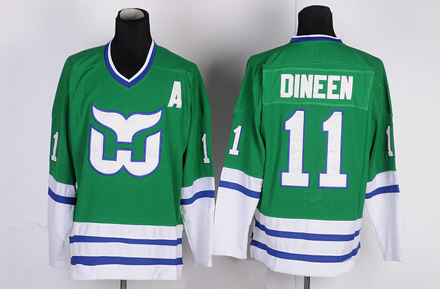 b3f0eaa09 ... throwback green jersey; kevin dineen jersey 11 hartford whalers ice  hockey jersey 1 mike liut 26 ray ferraro jersey