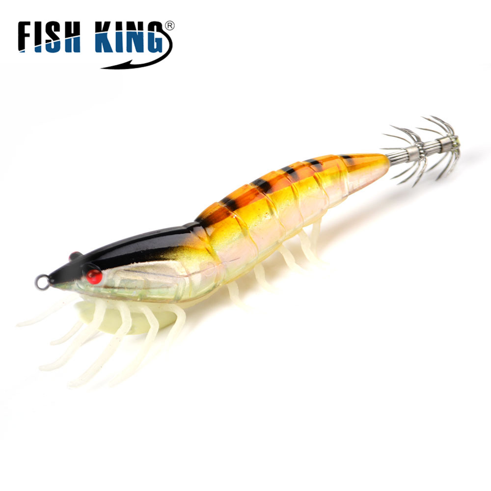 FISH KING 1pcs Squid Lures Lead Sinker Jigs Octopus Wood Shrimp Bait With Squid Hook Soft foot Luminous Fishing Lures 5pcs led electronic squid jig fishing lures shrimp plastic lure 12 8cm 21g octopus fishing jigs squid lure japan hook 3 5