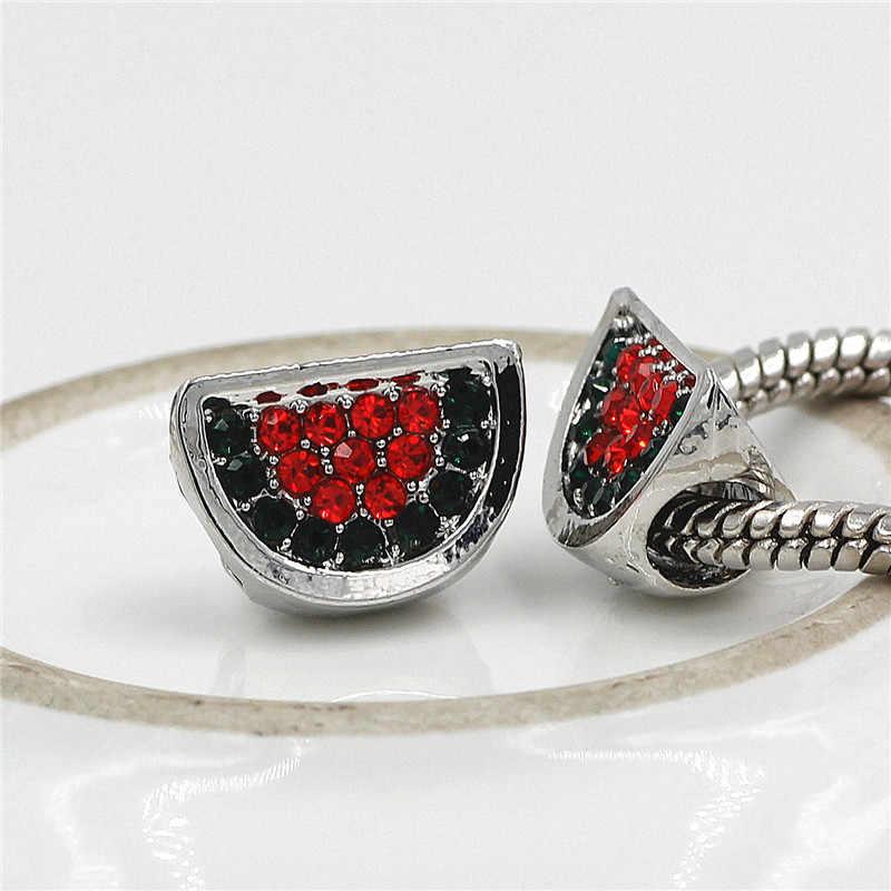 Hot biżuteria Bijoux arbuz kryształowe koraliki do Pandora Charms bransoletka hurtownie miedź Micro Pave koralik z dużym otworem Diy Berloque