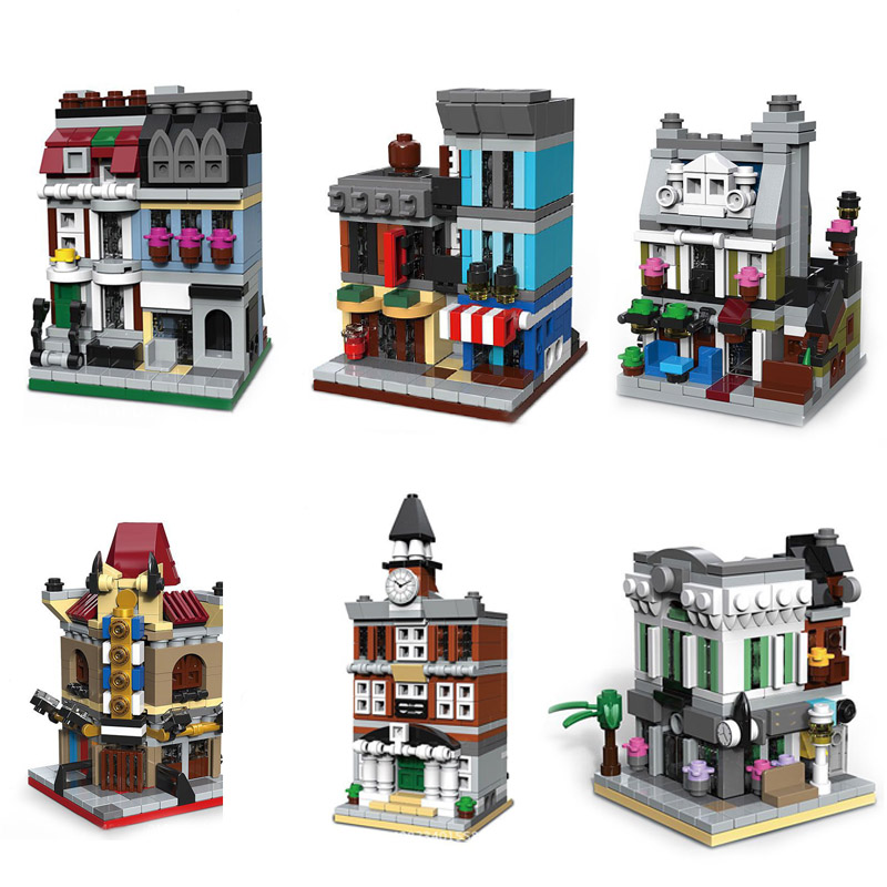 6 in 1 Model building kit compatible with lego city mini Creators serie town hall Brick Bank Model Building 10251 10224 1000+pcs lepin15003 2859pcs city series the town hall model building kits blocks kid toy gift compatible with 10224