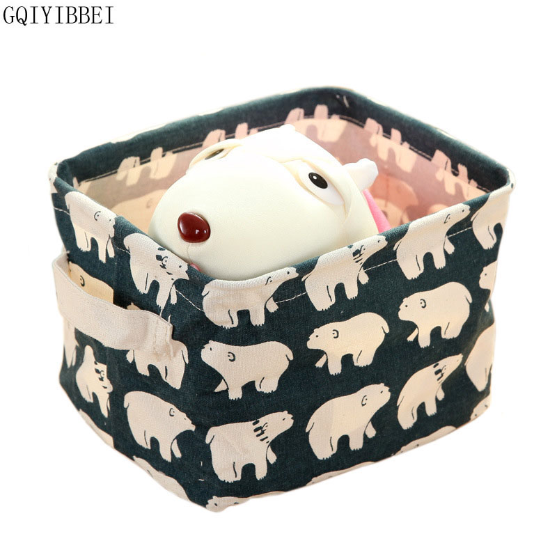 GQIYIBBEI New Pastoral Linen Desk Storage Box Holder Jewelry Cosmetic Stationery Organizer Case Foldable Houseold Storage Basket