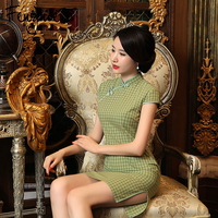 Fengmeisi Women Cheongsam Short Qipao Chinese Style Cotton Sexy Dress Summer Split Green Plaid Print Vintage