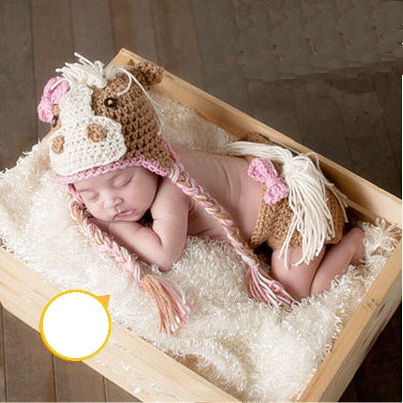 Для новорожденных для девочек и мальчиков крючком Симпатичные коровы шляпа Подставки для фотографий крошечные ребенок картина фотосессии ... ...