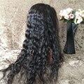 8A grado peluca llena del cordón sin cola Peruana virginal sin procesar llena del cordón rizado pelucas de cabello humano/pelucas delanteras del cordón con pelo del bebé