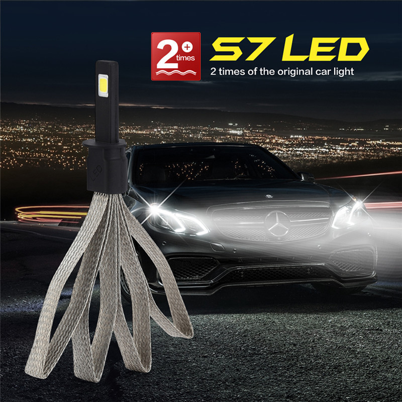 2pcs Super bright H1 Auto Car headlights Bulbs led headlamp S7 White Light 6000K Automobiles lights Car Styling bulb