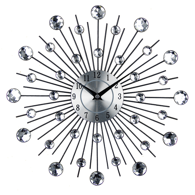 Vintage Metal Art Luxury Diamond Large Wall Clock